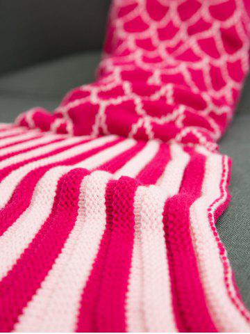 Outfits Ombre Color Knitting Fish Scales Design Mermaid Tail Style Blanket - DEEP PINK  Mobile