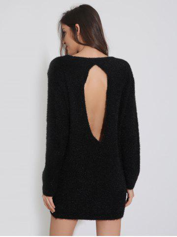 Latest Furry Backless Tunic Knitted Jumper Dress