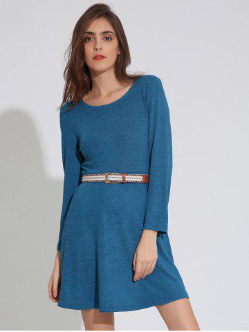 Shops Long Sleeve Plain Dress with Belt LAKE BLUE XL