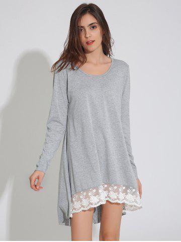 Outfits Long Sleeve Asymmetric Swing Dress with Lace LIGHT GRAY XL