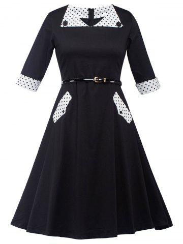 Fancy A Line Polka Dot Knee Length Dress
