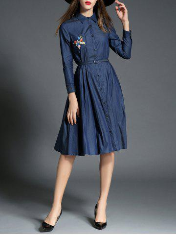 Buy Button Up Embroidery Long Sleeve Chambray Shirt Dress DEEP BLUE XL