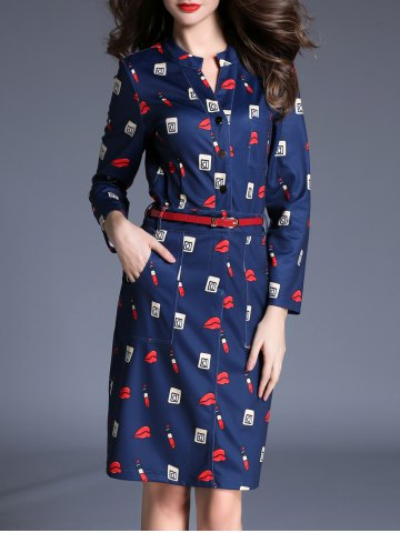 Fashion Lip Print Belted Dress with Pockets