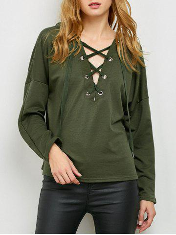 Slouchy Lace Up Hoodie Vert Armée XL