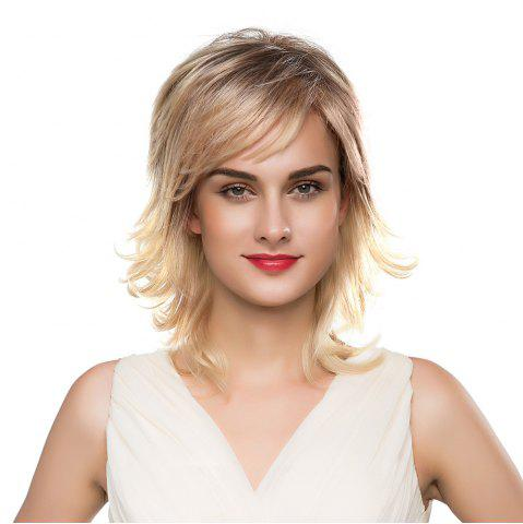 Latest Meidum Shaggy Inclined Bang Layered Tail Upwards Human Hair Wig COLORMIX