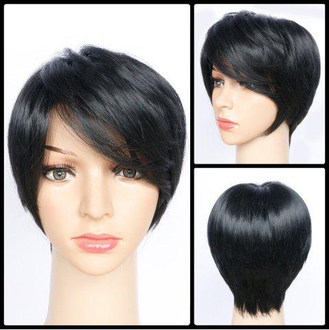 Buy Short Side Bang Layered Glossy Straight Synthetic Wig