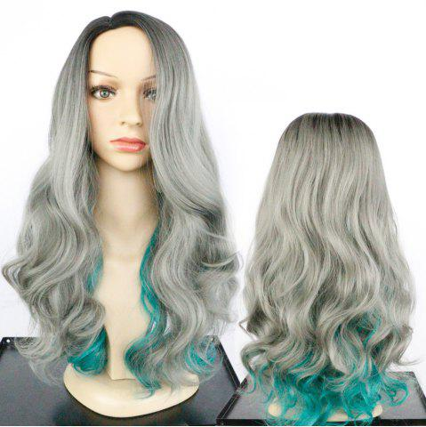Hot Long Side Parting Fluffy Colormix Wavy Synthetic Wig