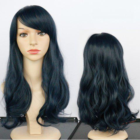 Best Long Side Bang Fluffy Wavy Synthetic Wig DEEP BLUE