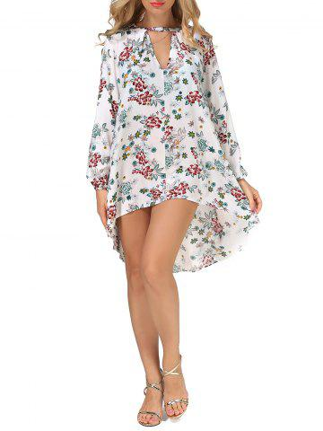 Best Long Sleeves Floral Print High Low Dress FLORAL L
