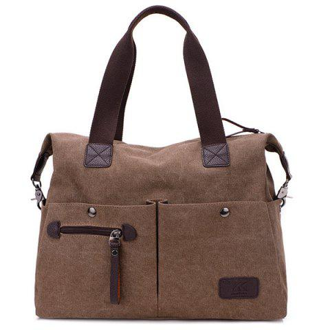 Multi Pocket Casual Large Tote Bag - Brown - 38