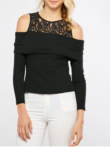 Outfits Cold Shoulder Lace Trim T-Shirt