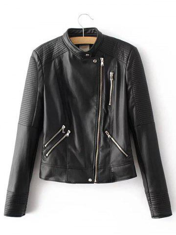 Chic Asymmetric Zipper Faux Leather Cropped Jacket
