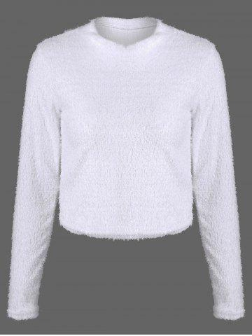 Latest Fuzzy Cropped Pullover Sweater WHITE XL