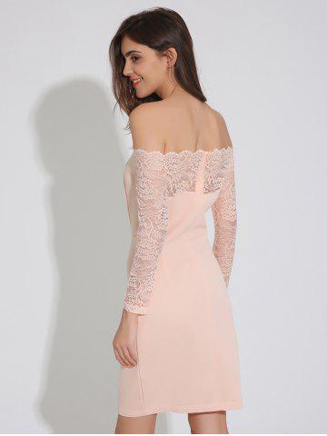 Chic Off Shoulder Lace Insert Backless Bodycon Dress