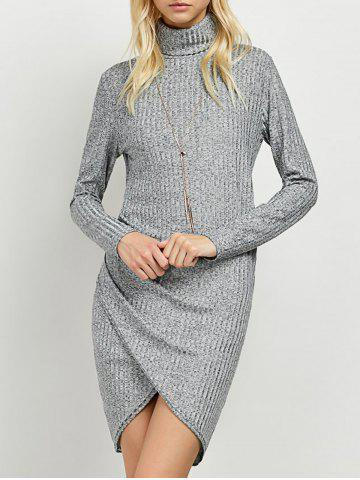 Hot Turtleneck Ruched Knitted Dress GRAY XL