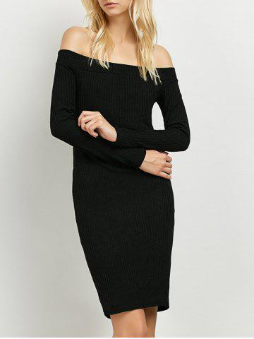 Long Sleeve Off The Shoulder Knitted Club Dress - Black - S