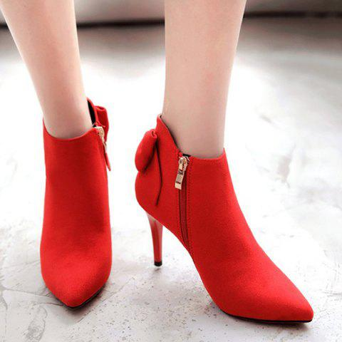 Hot Pointed Toe Back Bowknot Ankle Boots