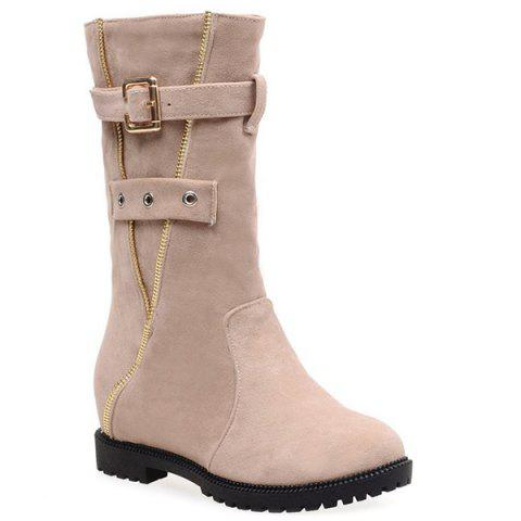 Buy Buckle Strap Zip Embellished Mid Calf Boots