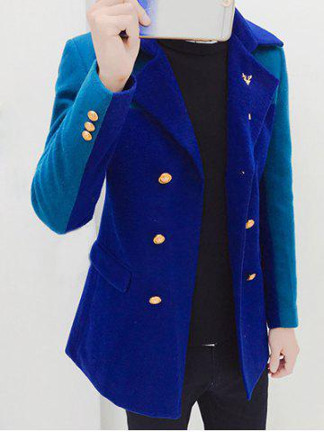 Notched Collar Double Breasted Color Block Coat