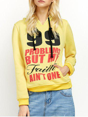 Best Casual Letters Number Print Hoodie YELLOW S