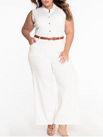 Discount Sleeveless Belted Plus Size Jumpsuit WHITE XL