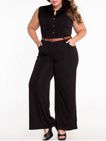 Sleeveless Belted Plus Size Jumpsuit - Black - L