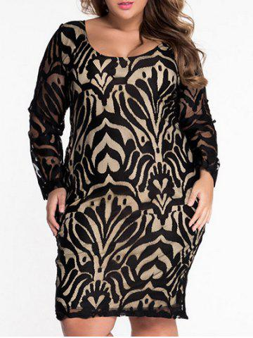 Fashion Scoop Neck Lace Patterned Plus Size Dress