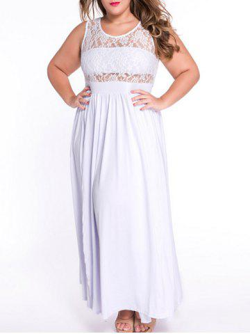 Discount Sleeveless Lace Panel Maxi Dress with Tube Top