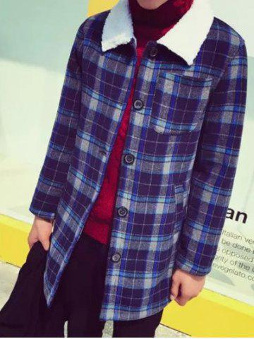 Best Borg Collar Single Breasted Checked Coat
