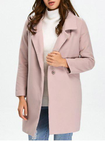 Discount Pocket Lapel Overcoat With Snap Button