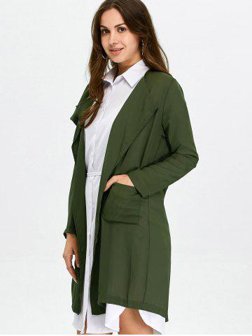 Outfit Long Lightweight Chiffon Coat - S ARMY GREEN Mobile