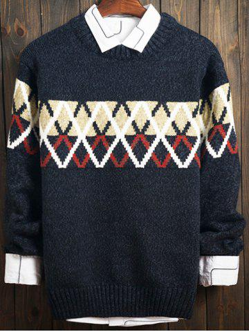 Color Block Argyle Crew Neck Long Sleeve Sweater
