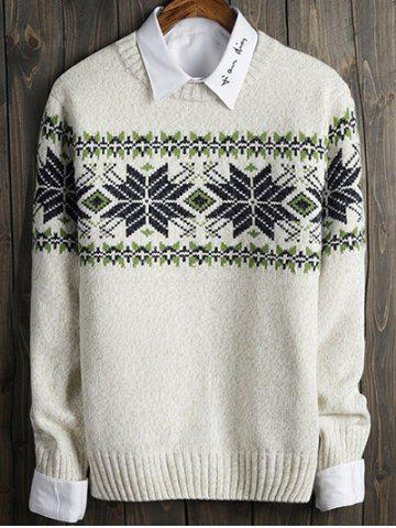 Color Block Snowflake Crew Neck Long Sleeve Sweater