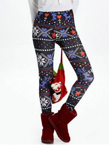 Hot Christmas High Waisted Flocking Leggings - XL BLACK Mobile