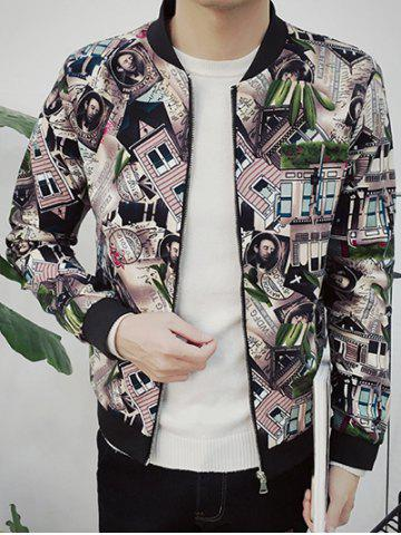 Stand Collar Zip Up All Over Printed Jacket