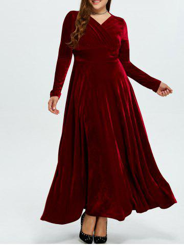 Fancy Velvet Plus Size Long Formal Dress with Sleeves WINE RED 3XL