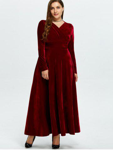 Cheap Velvet Plus Size V Neck Long Sleeve Maxi Dress - 2XL WINE RED Mobile