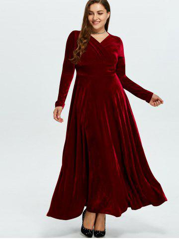 Outfit Velvet Plus Size V Neck Long Sleeve Maxi Dress - 2XL WINE RED Mobile