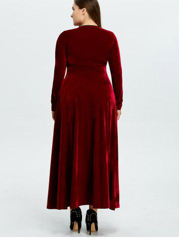 Latest Velvet Plus Size V Neck Long Sleeve Maxi Dress - 2XL WINE RED Mobile