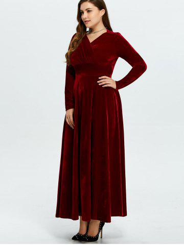 Online Velvet Plus Size V Neck Long Sleeve Maxi Dress - 2XL WINE RED Mobile