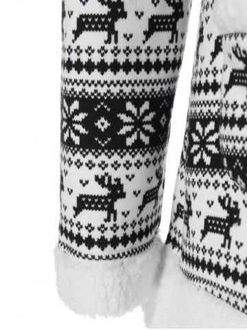 Hot Reindeer Pattern Fleece Christmas Hoodie - XL WHITE AND BLACK Mobile