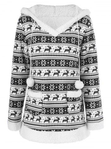 Outfit Reindeer Pattern Fleece Christmas Hoodie - XL WHITE AND BLACK Mobile