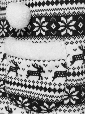 Shop Reindeer Pattern Fleece Christmas Hoodie - XL WHITE AND BLACK Mobile