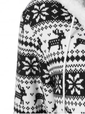 Latest Reindeer Pattern Fleece Christmas Hoodie - XL WHITE AND BLACK Mobile