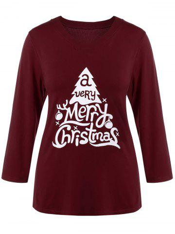 Plus Size Christmas Print T-Shirt - Wine Red - 4xl