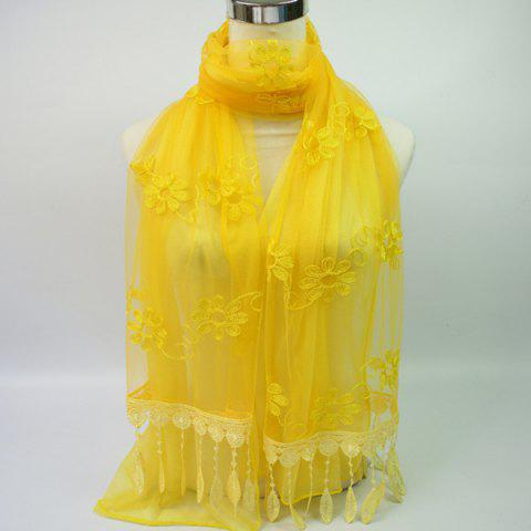 Unique Lightweight Floral Embroidery Tassel Pendant Chiffon Scarf