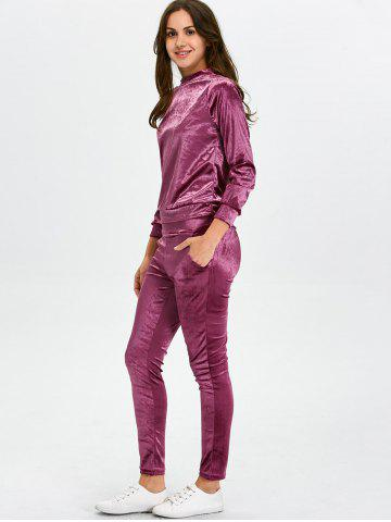 Buy Stand Collar Velvet Tee and Velvet Sport Pants - S PURPLISH RED Mobile