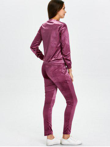 Unique Stand Collar Velvet Tee and Velvet Sport Pants - S PURPLISH RED Mobile