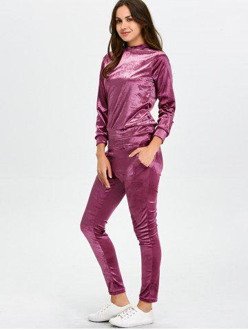 Store Stand Collar Velvet Tee and Velvet Sport Pants - S PURPLISH RED Mobile