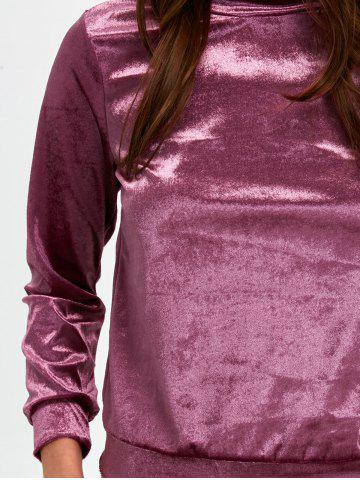 Best Stand Collar Velvet Tee and Velvet Sport Pants - S PURPLISH RED Mobile